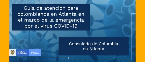 Guía de atención para colombianos en Atlanta en el marco de la emergencia por el virus COVID-19