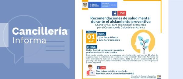 Consulado de Colombia en Atlanta invita a la charla virtual sobre recomendaciones de salud mental durante el aislamiento preventivo por el COVID-19