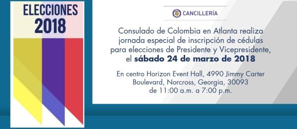 Consulado de Colombia en Atlanta realiza jornada especial de inscripción de cédulas para elecciones de Presidente y Vicepresidente, el sábado 24 de marzo de 2018