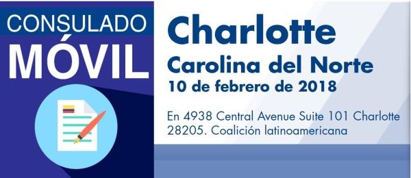 El Consulado de Colombia en Atlanta realizará un Consulado Móvil en Charlotte, Carolina del Norte, el sábado 10 de febrero de 2018