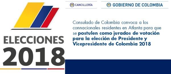 El Consulado de Colombia convoca a los connacionales residentes en Atlanta para que se postulen como jurados de votación para la elección de Presidente y Vicepresidente de Colombia 2018