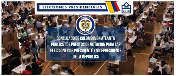 El Consulado de Colombia en Atlanta publica los puestos de votación para las elecciones de Presidente y Vicepresidente de la República