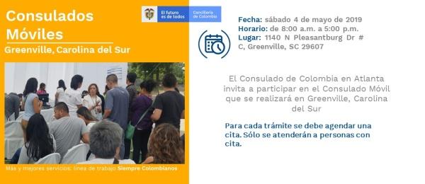 Consulado de Colombia en Atlanta realizará la jornada de Consulado Móvil en Greenville, Carolina del Sur el próximo 4 de mayo