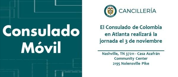 Consulado de Colombia en Atlanta realizará la jornada de Consulado Móvil en Nashville el 3 de octubre de 2018