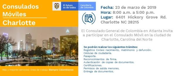 Consulado de Colombia en Atlanta realizará una jornada de Consulado Móvil en Charlotte, Carolina del Norte, el 23 de marzo