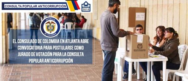Consulado de Colombia en Atlanta abre convocatoria para postularse como jurado de votación para la Consulta Popular Anticorrupción de 2018