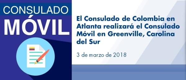 El Consulado de Colombia en Atlanta realizará el Consulado Móvil en Greenville, Carolina del Sur el 3 de marzo de 2018