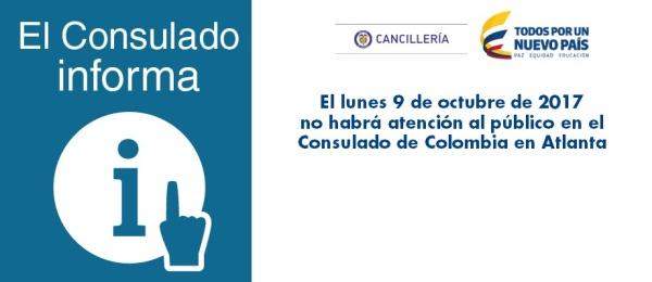 El lunes 9 de octubre no habrá atención al público en el Consulado de Colombia en Atlanta